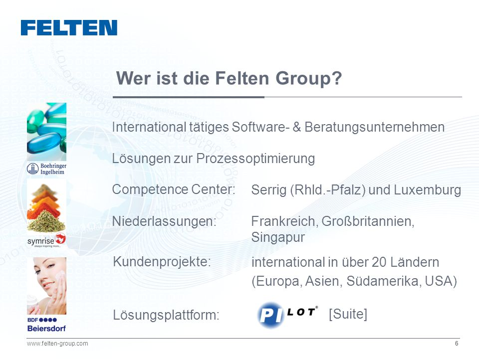6 www.felten-group.com Wer ist die Felten Group? Frankreich, Großbritannien, Singapur International tätiges Software- & Beratungsunternehmen Niederlas
