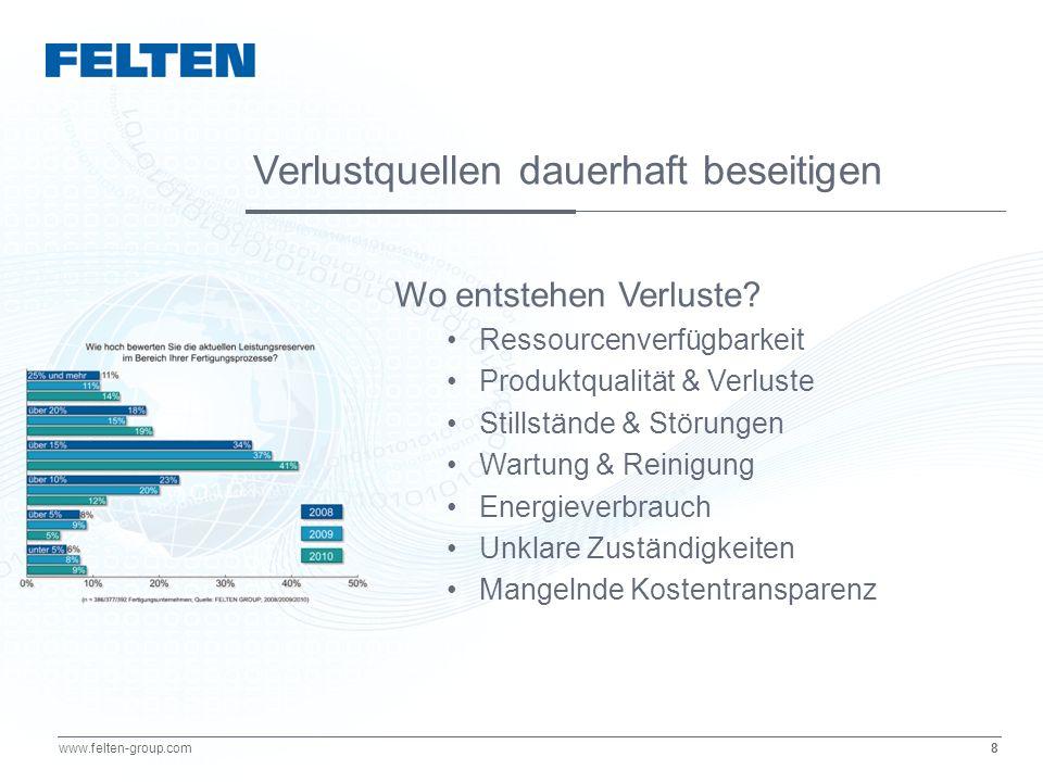 8 www.felten-group.com Wo entstehen Verluste? Ressourcenverfügbarkeit Produktqualität & Verluste Stillstände & Störungen Wartung & Reinigung Energieve