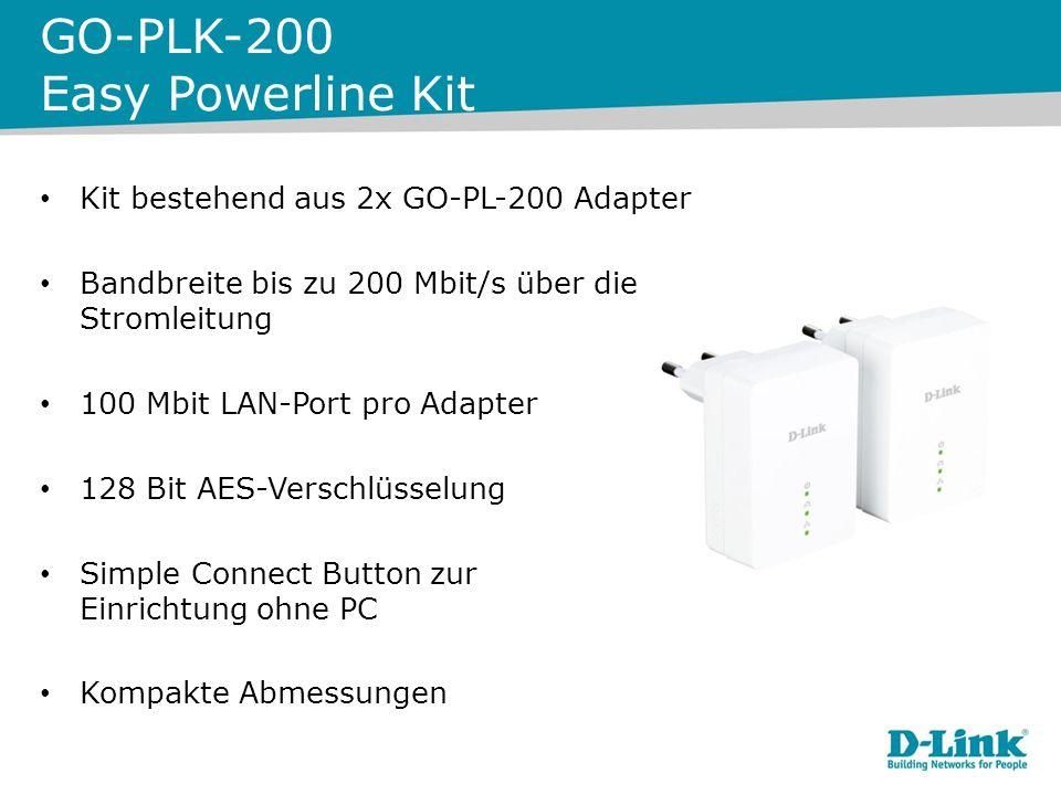 GO-PLK-200 Easy Powerline Kit Kit bestehend aus 2x GO-PL-200 Adapter Bandbreite bis zu 200 Mbit/s über die Stromleitung 100 Mbit LAN-Port pro Adapter 128 Bit AES-Verschlüsselung Simple Connect Button zur Einrichtung ohne PC Kompakte Abmessungen