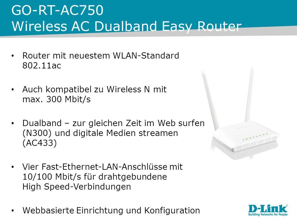 GO-RT-AC750 Wireless AC Dualband Easy Router Router mit neuestem WLAN-Standard 802.11ac Auch kompatibel zu Wireless N mit max.
