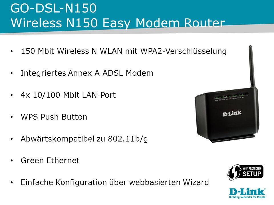 150 Mbit Wireless N WLAN mit WPA2 Verschlüsselung Integriertes Annex B und J ADSL Modem 4x 10/100 Mbit LAN-Port WPS Push Button Abwärtskompatibel zu 802.11b/g Einfache Konfiguration über webbasierten Wizard GO-DSL-N151 Wireless N151 Easy Modem Router