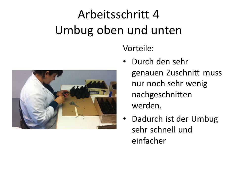 Arbeitsschritt 4 Umbug oben und unten Vorteile: Durch den sehr genauen Zuschnitt muss nur noch sehr wenig nachgeschnitten werden.