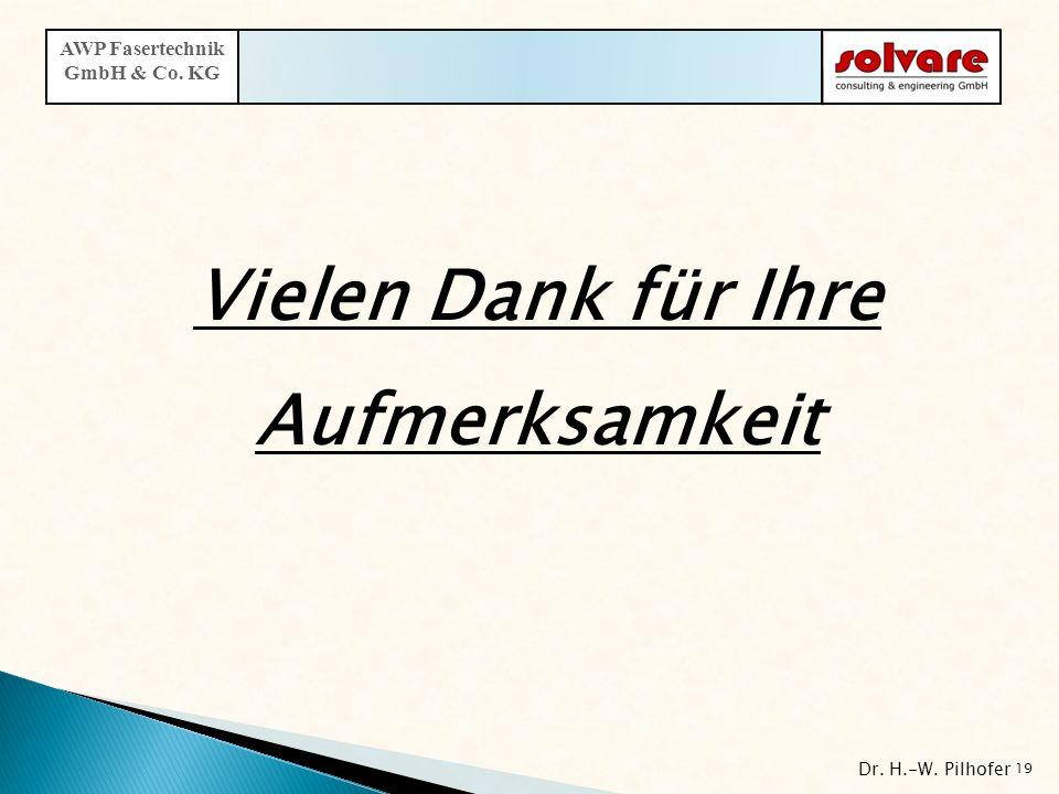 Vielen Dank für Ihre Aufmerksamkeit Dr. H.-W. Pilhofer 19 AWP Fasertechnik GmbH & Co. KG