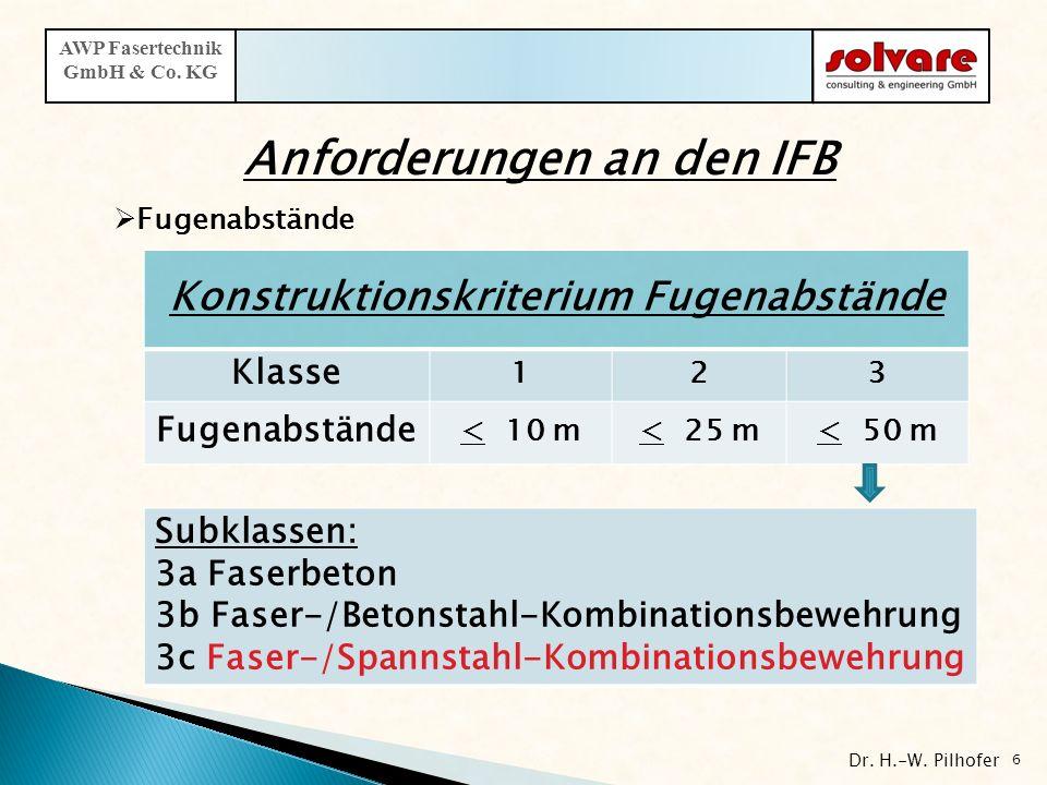 6 AWP Fasertechnik GmbH & Co. KG Konstruktionskriterium Fugenabstände Klasse 123 Fugenabstände < 10 m< 25 m< 50 m Subklassen: 3a Faserbeton 3b Faser-/