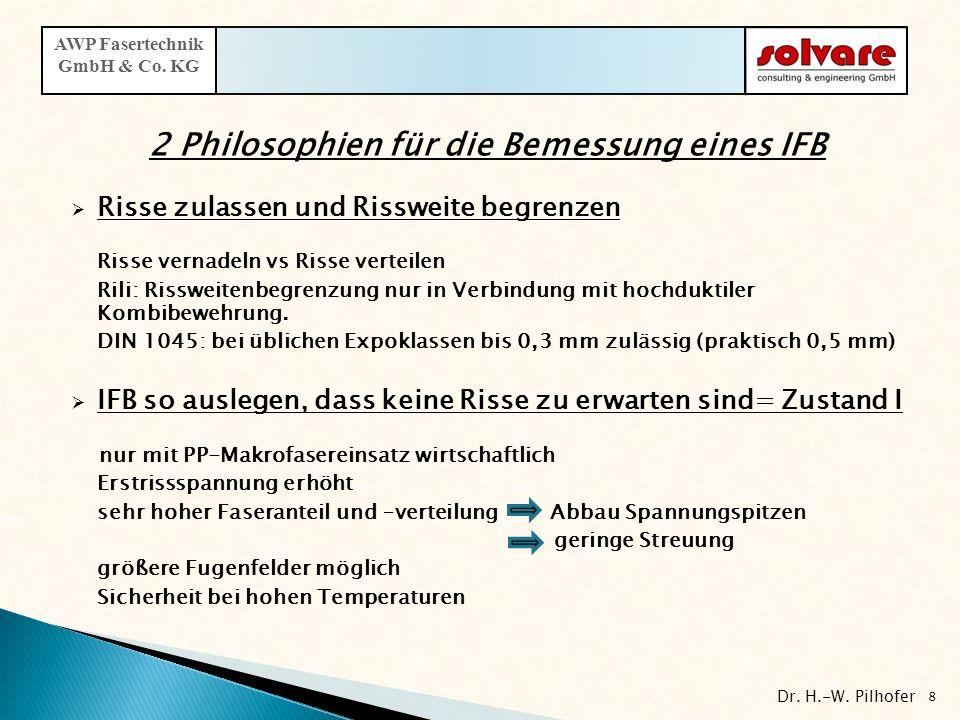 2 Philosophien für die Bemessung eines IFB Risse zulassen und Rissweite begrenzen Risse vernadeln vs Risse verteilen Rili: Rissweitenbegrenzung nur in