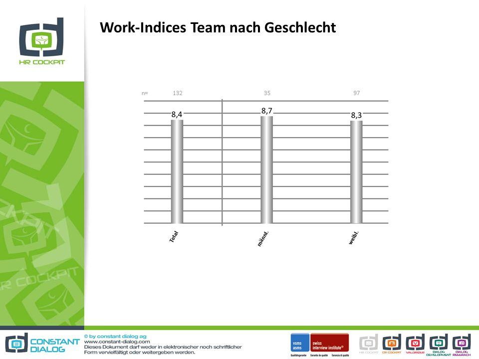 Work-Indices Team nach Geschlecht