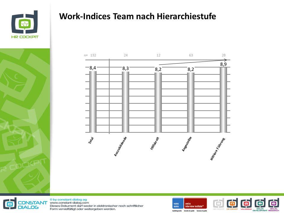 Work-Indices Team nach Hierarchiestufe