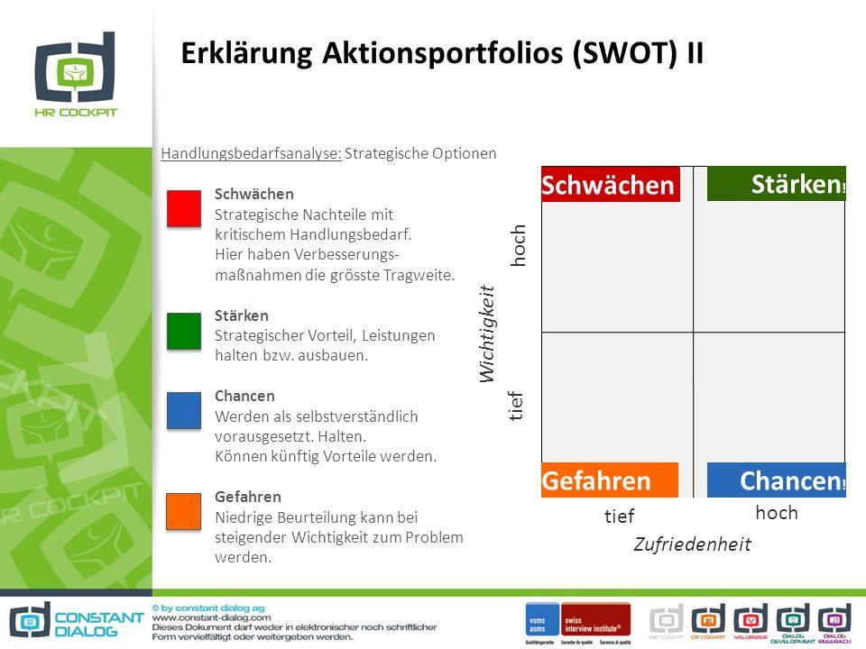 Erklärung Aktionsportfolios (SWOT) II Handlungsbedarfsanalyse: Strategische Optionen Schwächen Strategische Nachteile mit kritischem Handlungsbedarf.