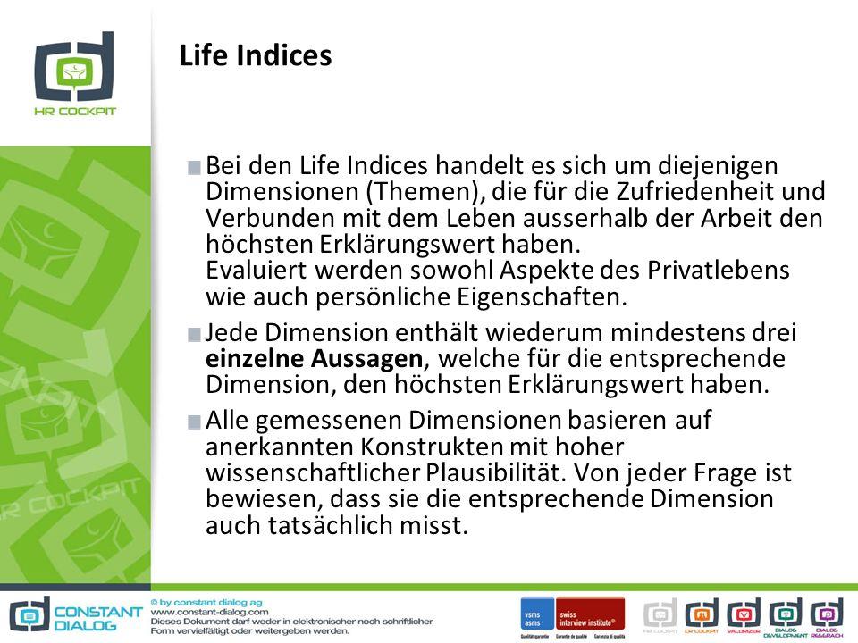 Life Indices Bei den Life Indices handelt es sich um diejenigen Dimensionen (Themen), die für die Zufriedenheit und Verbunden mit dem Leben ausserhalb der Arbeit den höchsten Erklärungswert haben.