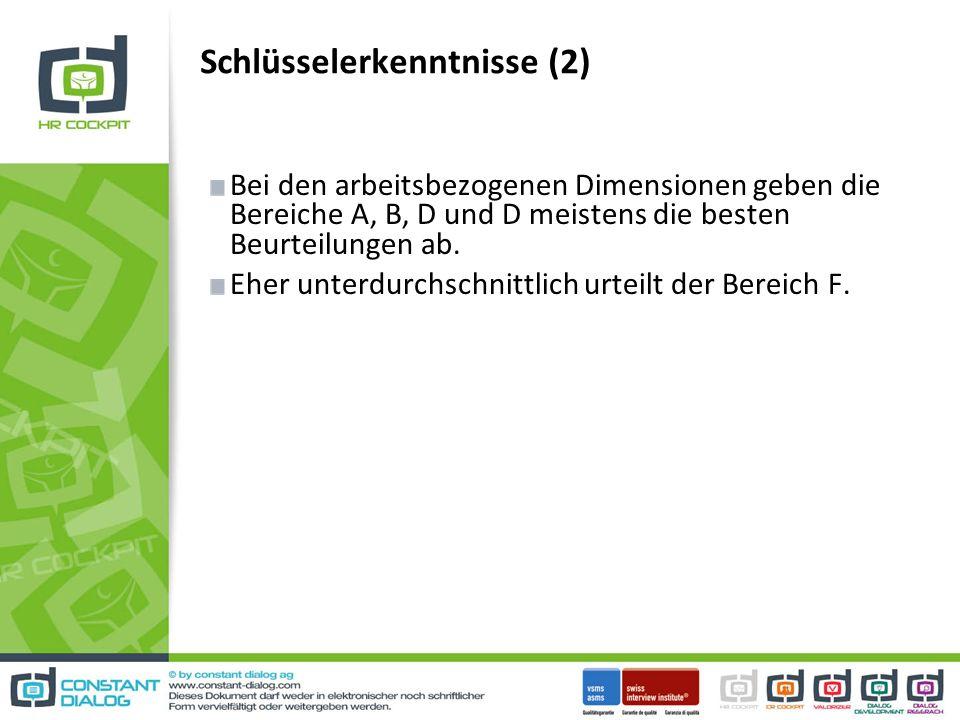 Schlüsselerkenntnisse (2) Bei den arbeitsbezogenen Dimensionen geben die Bereiche A, B, D und D meistens die besten Beurteilungen ab.