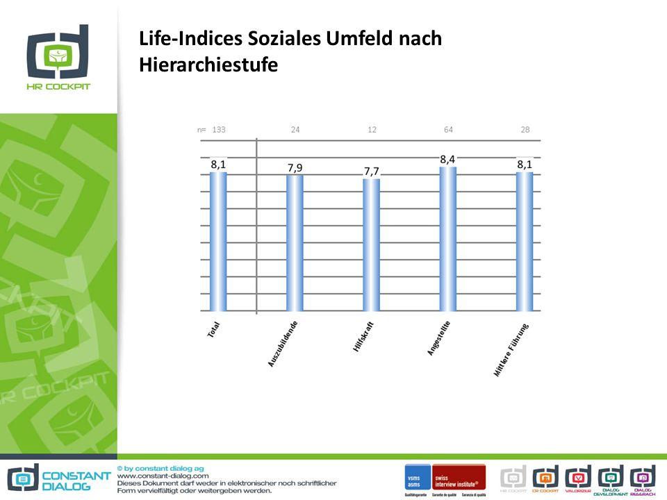 Life-Indices Soziales Umfeld nach Hierarchiestufe