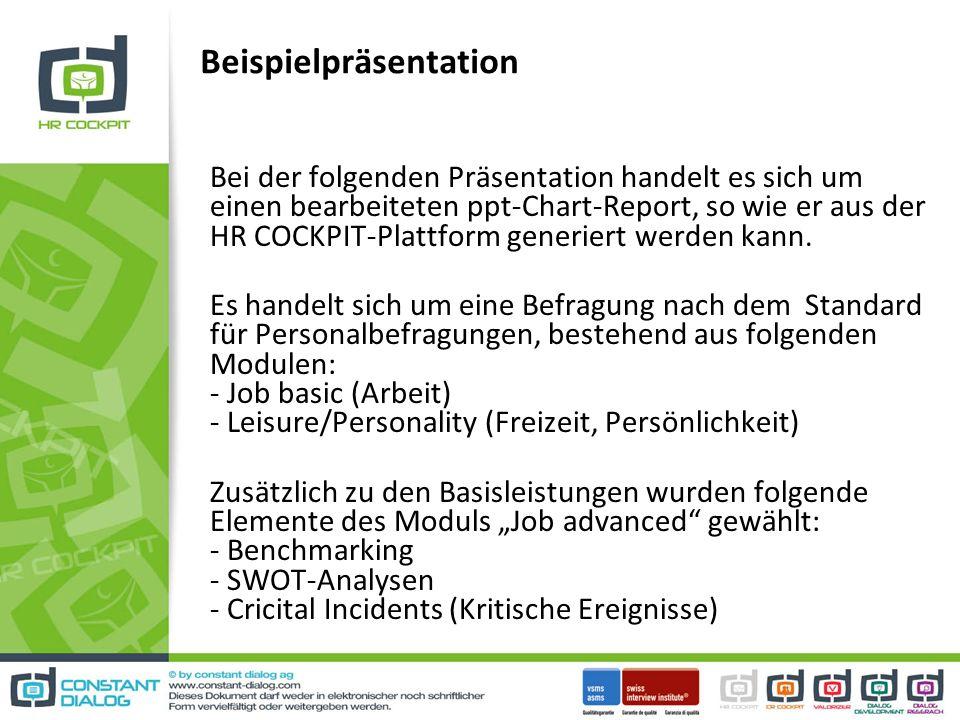 Beispielpräsentation Bei der folgenden Präsentation handelt es sich um einen bearbeiteten ppt-Chart-Report, so wie er aus der HR COCKPIT-Plattform generiert werden kann.