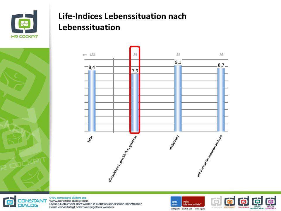 Life-Indices Lebenssituation nach Lebenssituation