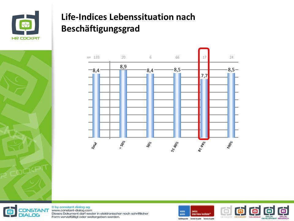 Life-Indices Lebenssituation nach Beschäftigungsgrad