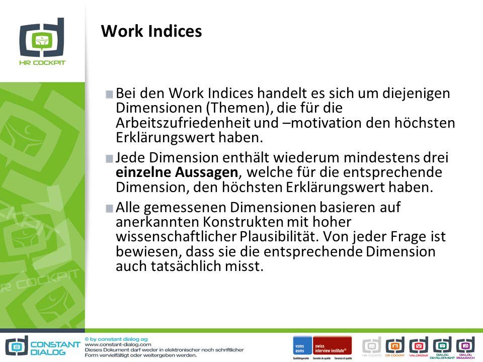 Work Indices Bei den Work Indices handelt es sich um diejenigen Dimensionen (Themen), die für die Arbeitszufriedenheit und –motivation den höchsten Erklärungswert haben.