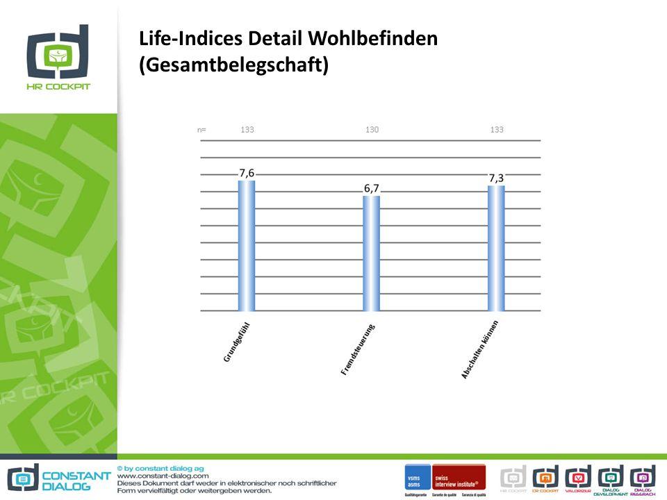 Life-Indices Detail Wohlbefinden (Gesamtbelegschaft)
