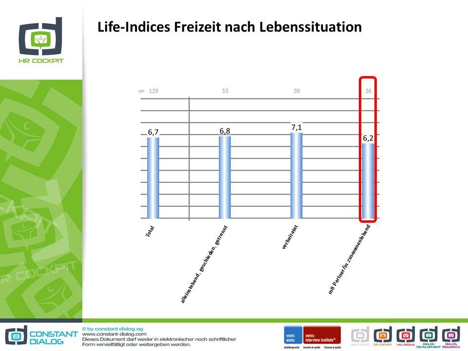 Life-Indices Freizeit nach Lebenssituation
