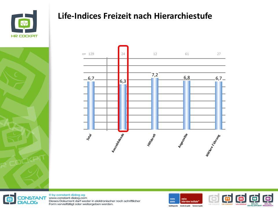 Life-Indices Freizeit nach Hierarchiestufe