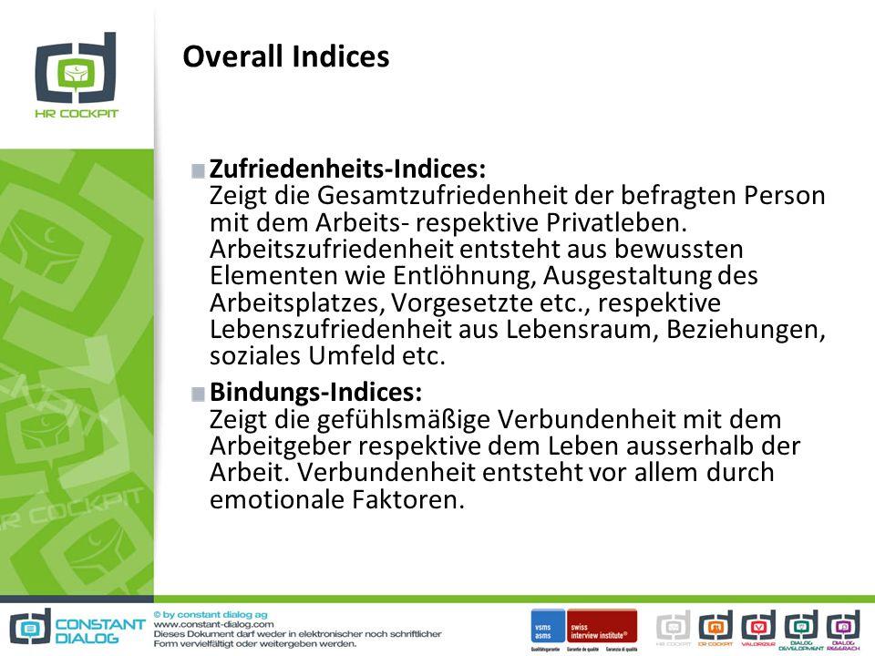 Zufriedenheits-Indices: Zeigt die Gesamtzufriedenheit der befragten Person mit dem Arbeits- respektive Privatleben.
