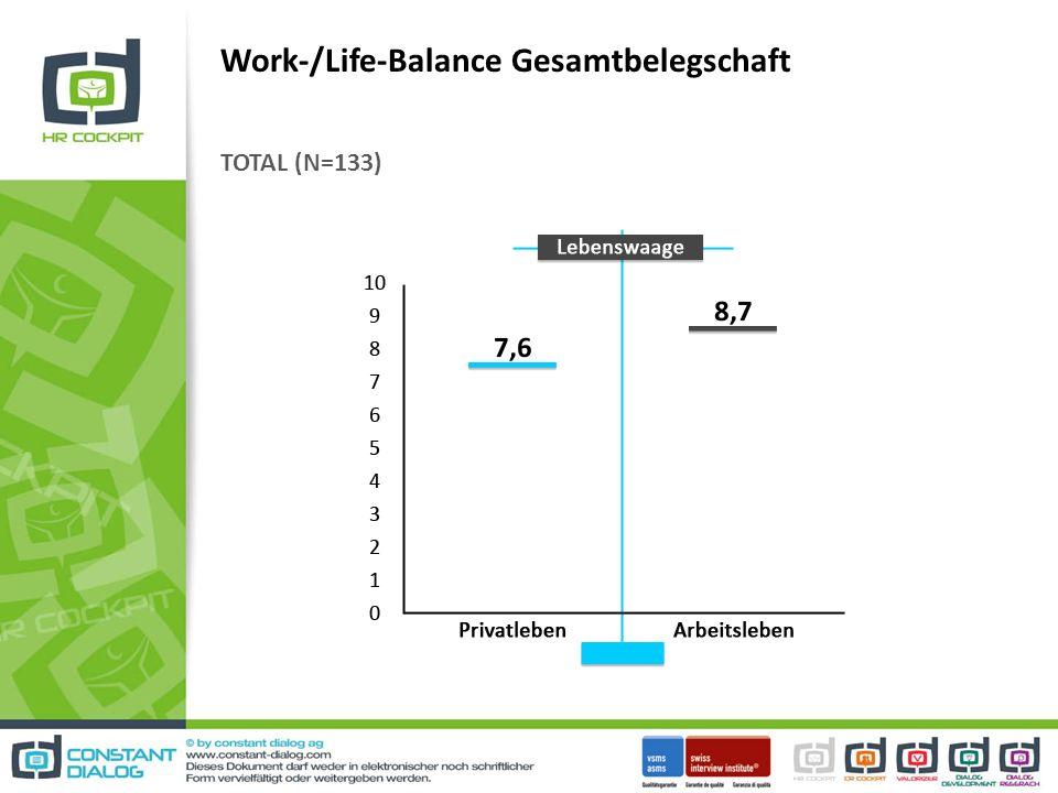 Work-/Life-Balance Gesamtbelegschaft TOTAL (N=133)