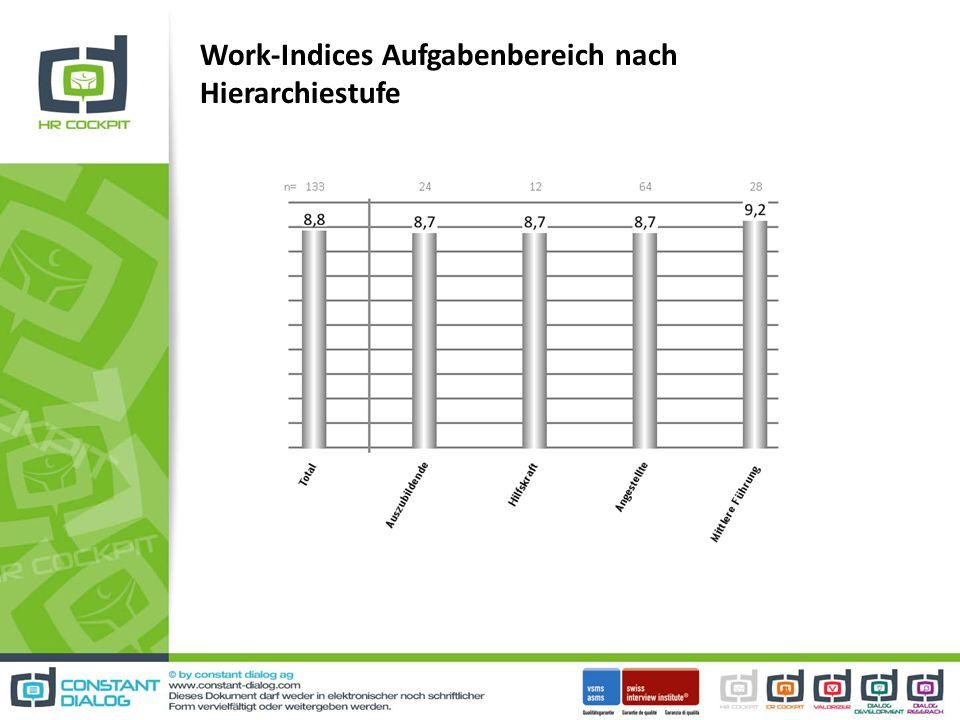 Work-Indices Aufgabenbereich nach Hierarchiestufe