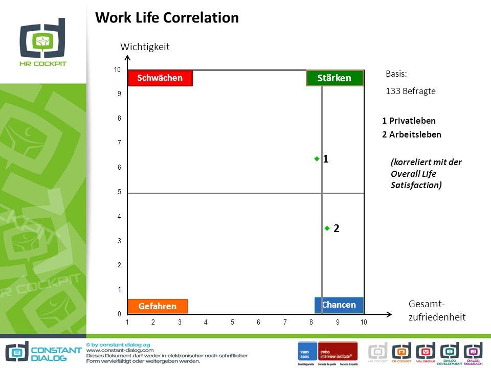 Work Life Correlation Chancen Schwächen Stärken Gefahren Wichtigkeit Gesamt- zufriedenheit 1 Privatleben 2 Arbeitsleben (korreliert mit der Overall Life Satisfaction) Basis: 133 Befragte