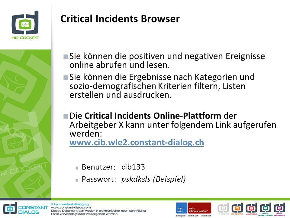 Critical Incidents Browser Sie können die positiven und negativen Ereignisse online abrufen und lesen.