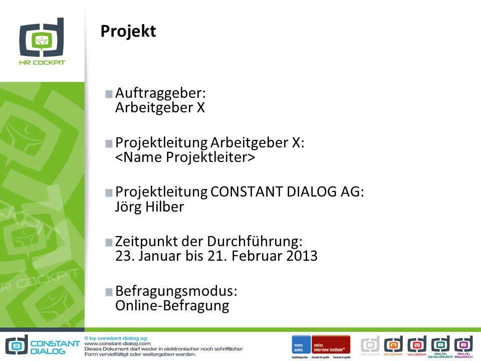 Projekt Auftraggeber: Arbeitgeber X Projektleitung Arbeitgeber X: Projektleitung CONSTANT DIALOG AG: Jörg Hilber Zeitpunkt der Durchführung: 23.