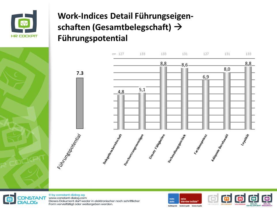 Work-Indices Detail Führungseigen- schaften (Gesamtbelegschaft) Führungspotential 7.3 Führungspotential