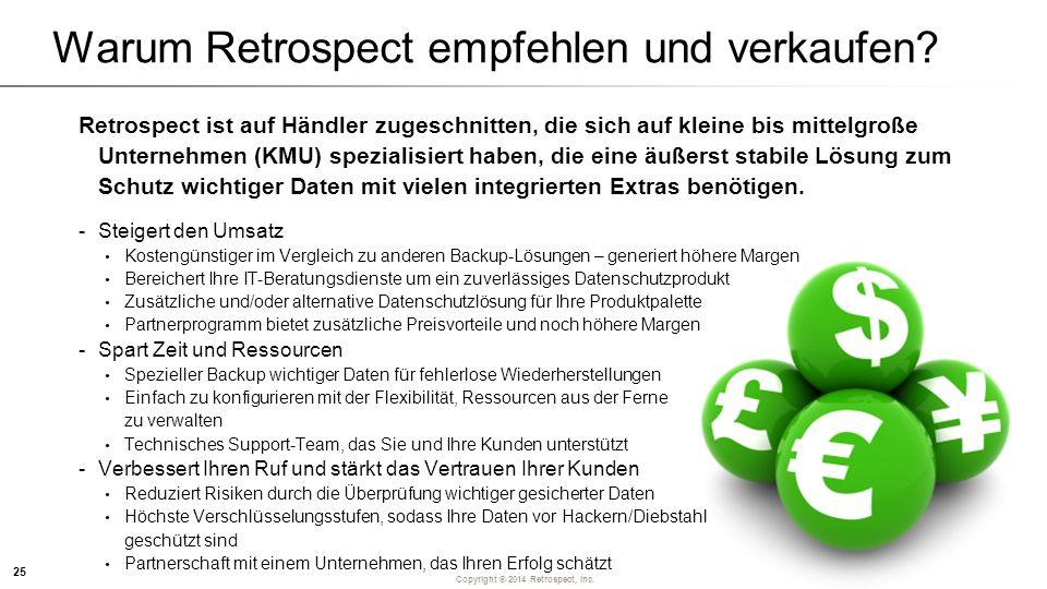 Copyright ® 2014 Retrospect, Inc. Warum Retrospect empfehlen und verkaufen.