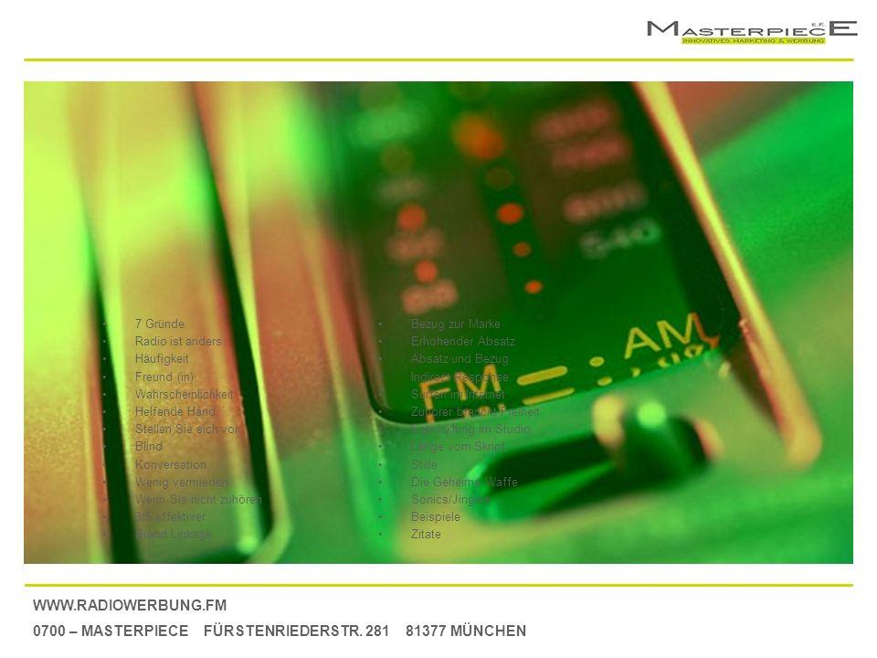 WWW.RADIOWERBUNG.FM 0700 – MASTERPIECE FÜRSTENRIEDERSTR. 281 81377 MÜNCHEN Bezug zur Marke Erhöhender Absatz und Bezug Indirect Response Surfen im Int