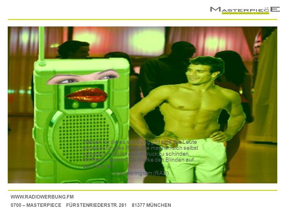 WWW.RADIOWERBUNG.FM 0700 – MASTERPIECE FÜRSTENRIEDERSTR. 281 81377 MÜNCHEN Marken für die es Werbung gibt sind wie Leute auf einer Singles Party; Sie