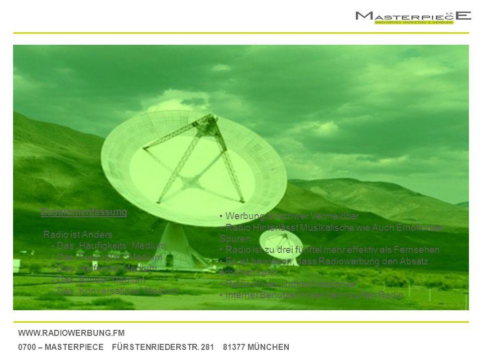 WWW.RADIOWERBUNG.FM 0700 – MASTERPIECE FÜRSTENRIEDERSTR. 281 81377 MÜNCHEN Zusammenfassung Radio ist Anders - Das Häufigkeits Medium - Das Freund(in)