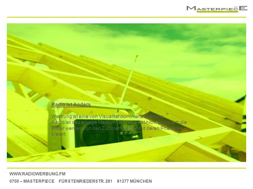 WWW.RADIOWERBUNG.FM 0700 – MASTERPIECE FÜRSTENRIEDERSTR. 281 81377 MÜNCHEN Radio Ist Anders Werbung ist eine von Visualität dominierte Branche. Radio