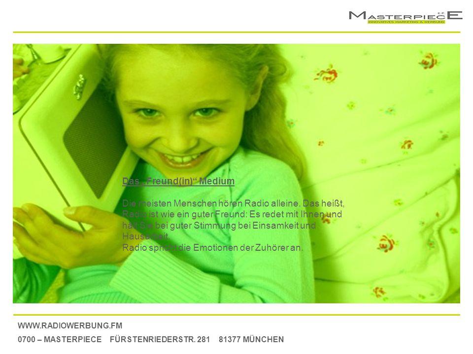 WWW.RADIOWERBUNG.FM 0700 – MASTERPIECE FÜRSTENRIEDERSTR. 281 81377 MÜNCHEN Das Freund(in) Medium Die meisten Menschen hören Radio alleine. Das heißt,