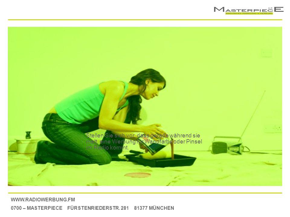 WWW.RADIOWERBUNG.FM 0700 – MASTERPIECE FÜRSTENRIEDERSTR. 281 81377 MÜNCHEN Stellen Sie sich vor, dass gerade während sie malt, eine Werbung für Wandfa