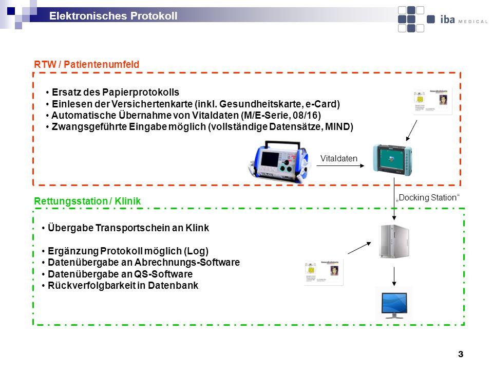 3 Elektronisches Protokoll RTW / Patientenumfeld Rettungsstation / Klinik Ersatz des Papierprotokolls Einlesen der Versichertenkarte (inkl. Gesundheit