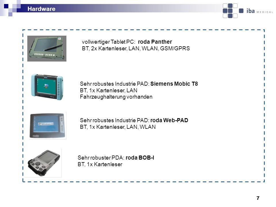 7 vollwertiger Tablet PC: roda Panther BT, 2x Kartenleser, LAN, WLAN, GSM/GPRS Sehr robustes Industrie PAD: Siemens Mobic T8 BT, 1x Kartenleser, LAN F