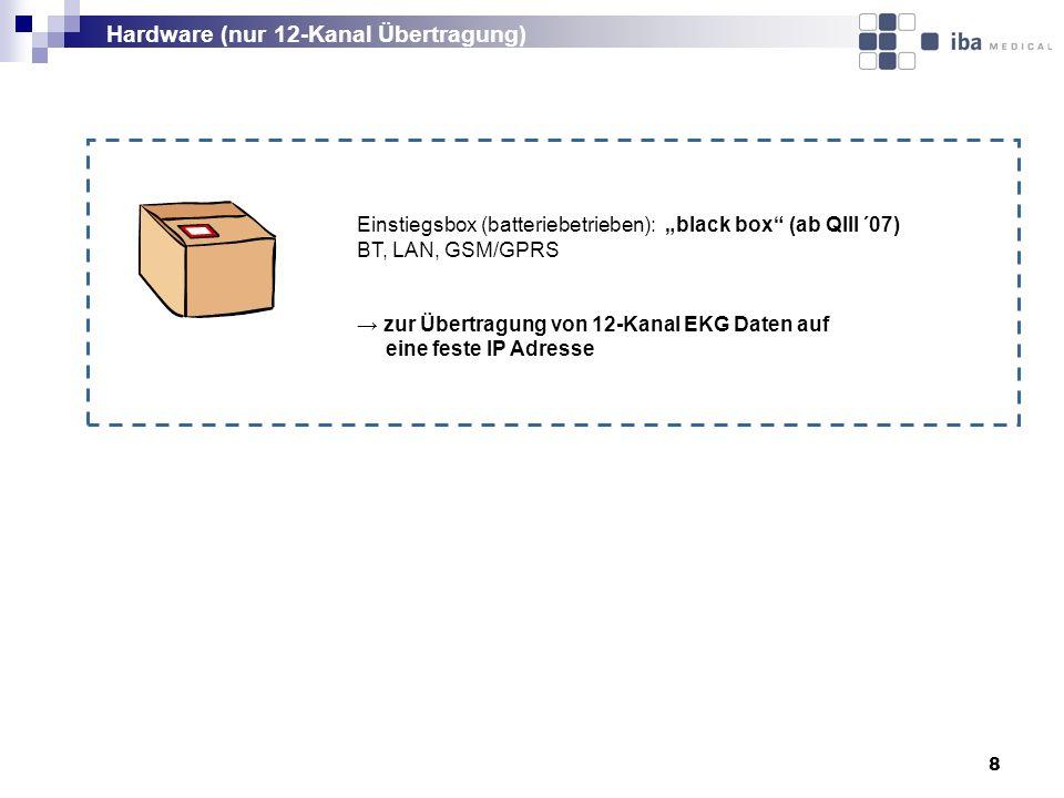 8 Einstiegsbox (batteriebetrieben): black box (ab QIII ´07) BT, LAN, GSM/GPRS zur Übertragung von 12-Kanal EKG Daten auf eine feste IP Adresse Hardware (nur 12-Kanal Übertragung)