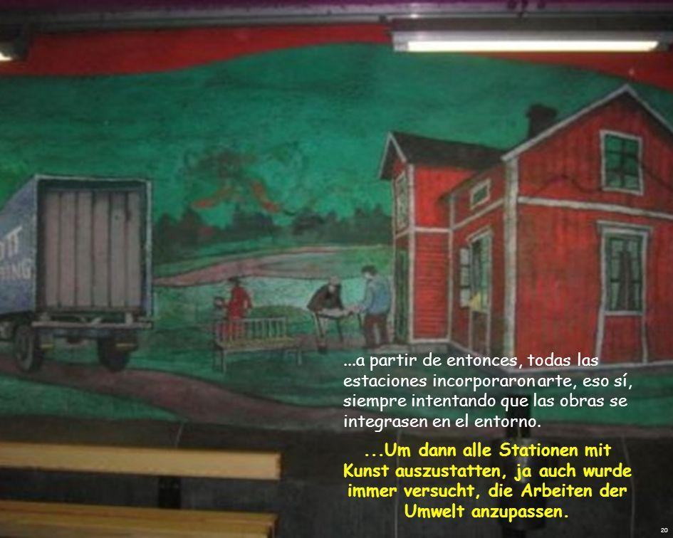 La primera línea del metro de Estocolmo se abre en 1950, Die erste U-Bahn-Linie in Stockholm wurde 1950 eröffnet..