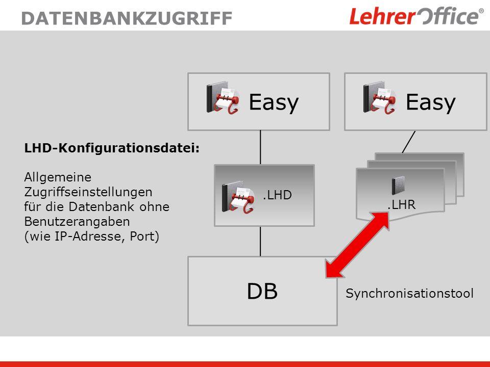 DATENBANKZUGRIFF Easy DB.LHD LHD-Konfigurationsdatei: Allgemeine Zugriffseinstellungen für die Datenbank ohne Benutzerangaben (wie IP-Adresse, Port).L