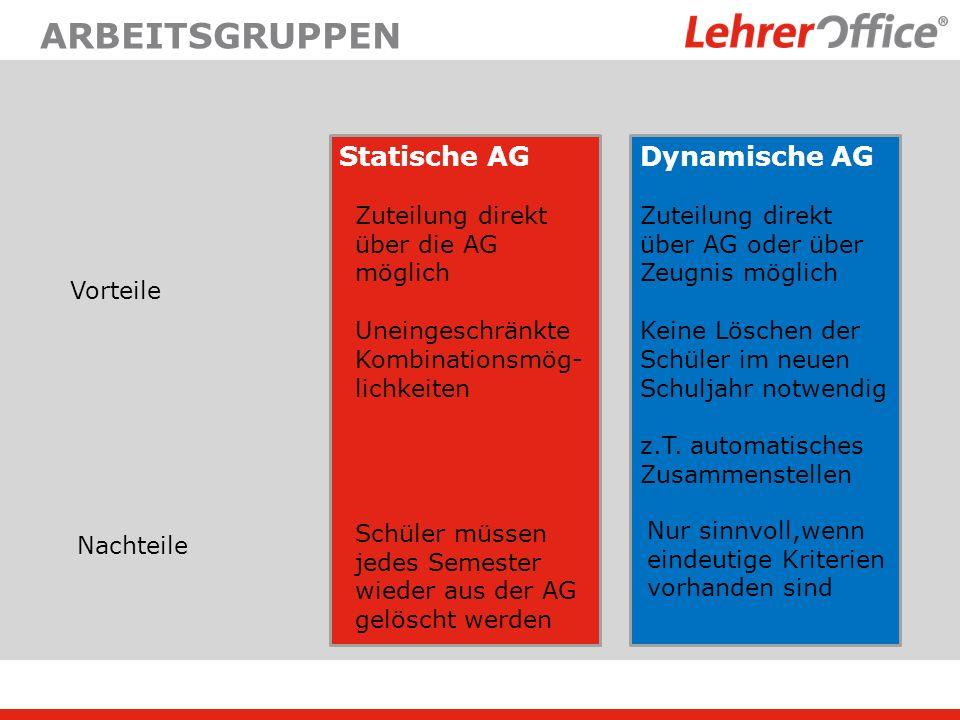 ARBEITSGRUPPEN Statische AGDynamische AG Vorteile Zuteilung direkt über die AG möglich Uneingeschränkte Kombinationsmög- lichkeiten Zuteilung direkt ü