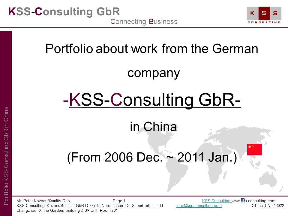 KSS-Consulting GbR Index Mr.Peter Kozber /Quality Dep.