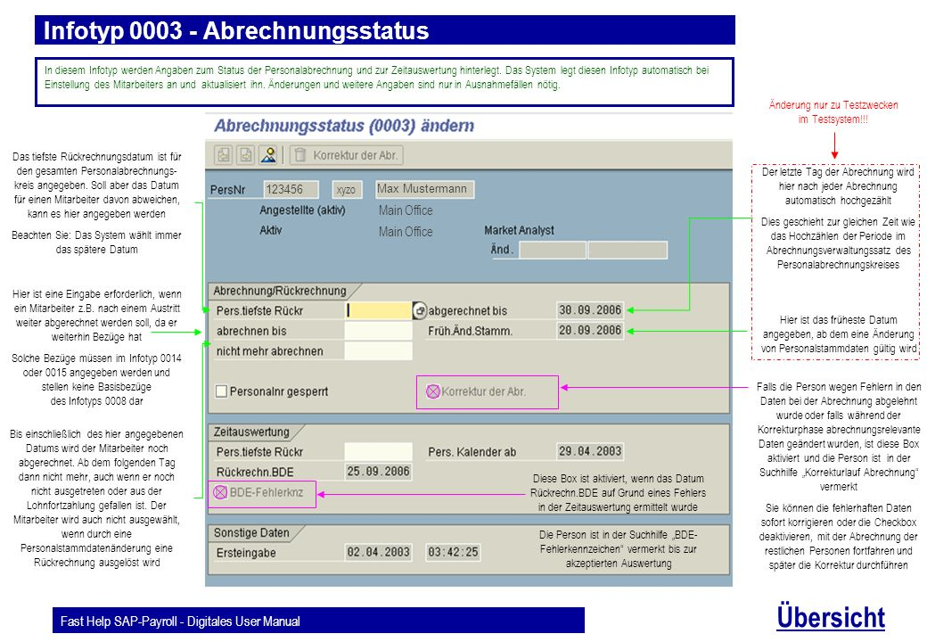 Fast Help SAP-Payroll - Digitales User Manual Übersicht Infotyp 0003 - Abrechnungsstatus Max Mustermann 123456 In diesem Infotyp werden Angaben zum St