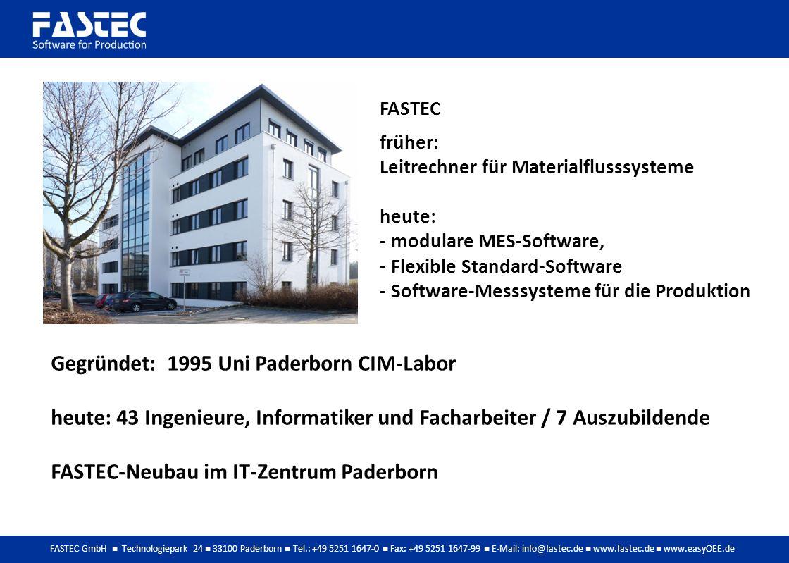 FASTEC GmbH Technologiepark 24 33100 Paderborn Tel.: +49 5251 1647-0 Fax: +49 5251 1647-99 E-Mail: info@fastec.de www.fastec.de www.easyOEE.de Gegründet: 1995 Uni Paderborn CIM-Labor heute: 43 Ingenieure, Informatiker und Facharbeiter / 7 Auszubildende FASTEC-Neubau im IT-Zentrum Paderborn FASTEC früher: Leitrechner für Materialflusssysteme heute: - modulare MES-Software, - Flexible Standard-Software - Software-Messsysteme für die Produktion