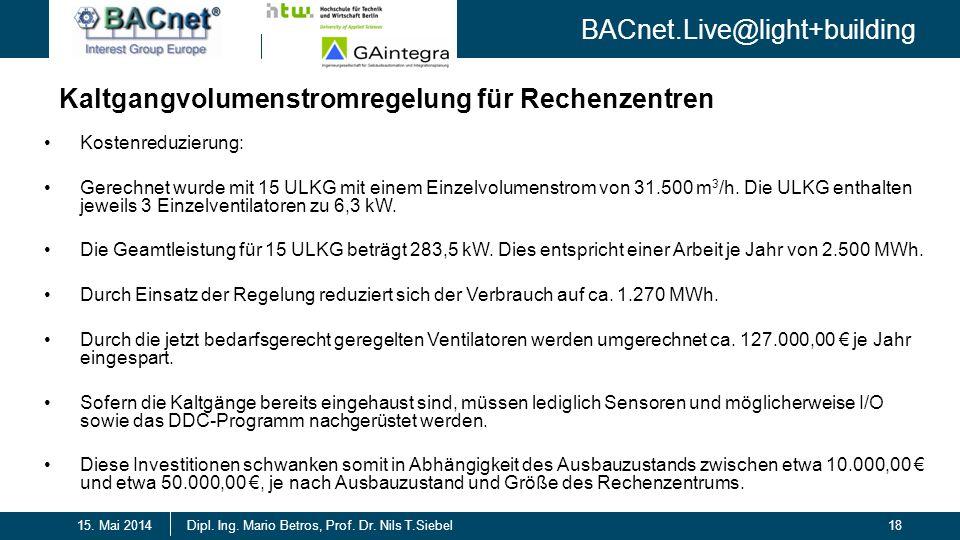BACnet.Live@light+building 18Dipl. Ing. Mario Betros, Prof. Dr. Nils T.Siebel15. Mai 2014 Kaltgangvolumenstromregelung für Rechenzentren Kostenreduzie