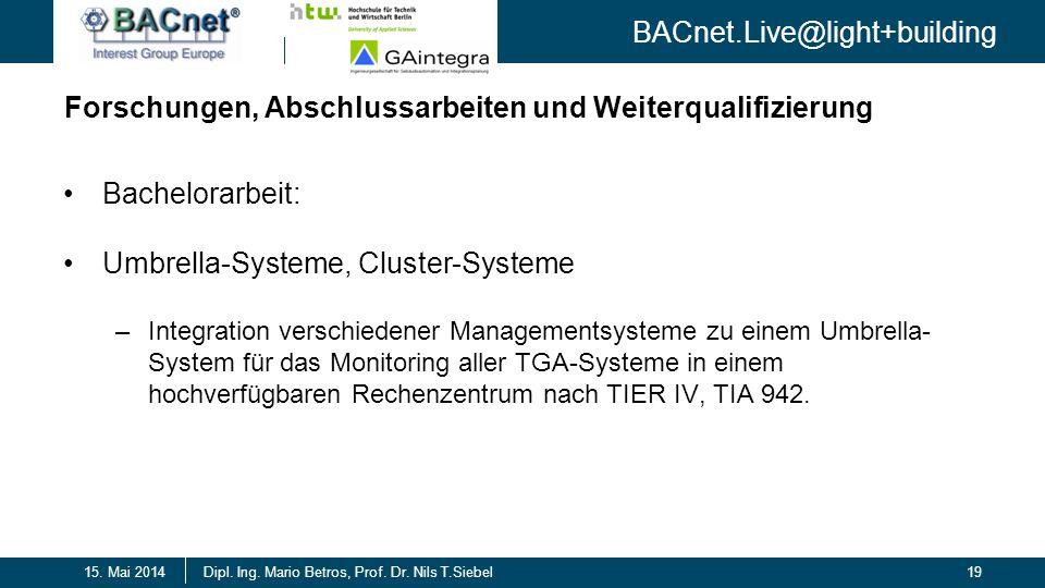 BACnet.Live@light+building 19Dipl. Ing. Mario Betros, Prof. Dr. Nils T.Siebel15. Mai 2014 Forschungen, Abschlussarbeiten und Weiterqualifizierung Bach