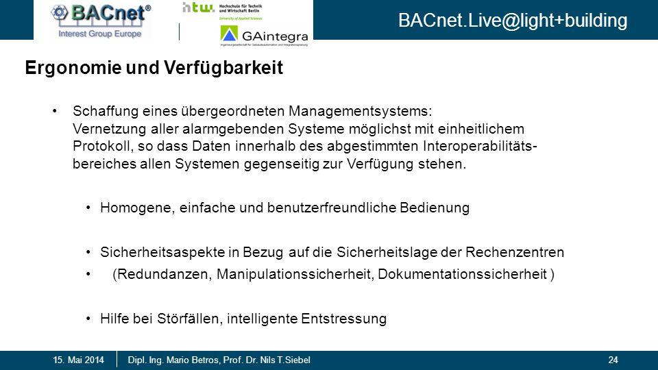 BACnet.Live@light+building 24Dipl. Ing. Mario Betros, Prof. Dr. Nils T.Siebel15. Mai 2014 Schaffung eines übergeordneten Managementsystems: Vernetzung