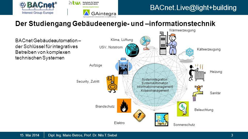 BACnet.Live@light+building 3Dipl. Ing. Mario Betros, Prof. Dr. Nils T.Siebel15. Mai 2014 Der Studiengang Gebäudeenergie- und –informationstechnik Syst