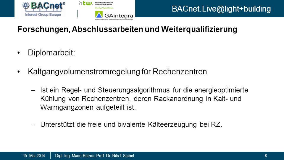BACnet.Live@light+building 8Dipl. Ing. Mario Betros, Prof. Dr. Nils T.Siebel15. Mai 2014 Forschungen, Abschlussarbeiten und Weiterqualifizierung Diplo